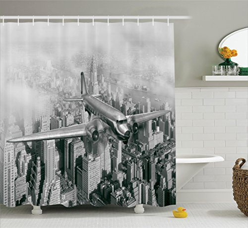 Curtain Set by Ambesonne, Nostalgic Dated Plane Flying over Skyscrapers in New York City Urban Life Events, Bathroom Accessories, 75 Inches Long, Grey (Event Accessories)