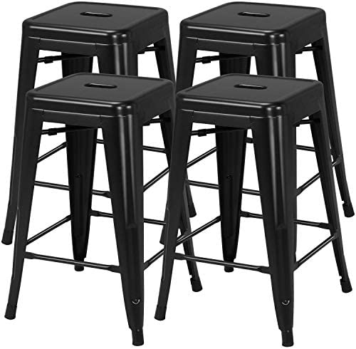 YAHEETECH 24inch Metal Bar stools Set of 4 Counter Height Kitchen Barstools Modern Industrial Backless Stackable Metal Chairs with Square Seat Indoor Outdoor Black