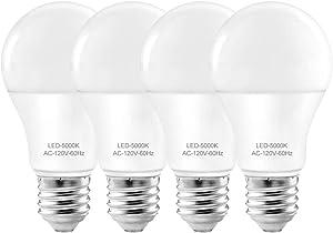 A19 Light Bulbs for Desk Lamp,Daylight led Light Bulbs 9W, E26/E27 Standard Base,60W Equivalent, Led Energy Saving Bulb for Home ,Office,Non-dimmable 4 Pack