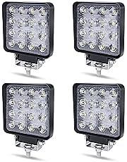 Werklamp LED 12V Aufun 48W Offroad reflector schijnwerper extra schijnwerper 4320lm, schijnwerper IP67 waterdicht voor tractor, SUV, UTV, ATV, 4 stuks