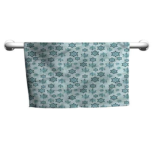 (flybeek Baby Bath Towel Teal,Ornate Winter Snowflakes,Beach Poncho Towel for Kids)