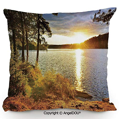 AngelDOU Decorative Cotton Linen Pillowcase with core,Sunset Dawn in The Forest Over Lake of Two Rivers Algonquin Park Ontario Canada,Sofa Bedroom Car Eco-Friendly Pillow Cushion.13.7x13.7 inches