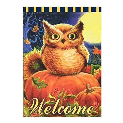 Wamika Welcome Owl Pumpkin Sunflower Autumn Fall Double Sided Garden Yard Flag 12