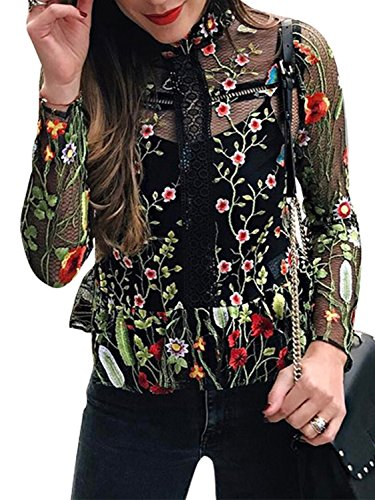 Berrygo Women's Boho Long Sleeve Floral Embroidered Transparent Lace Blouse Shirt Black