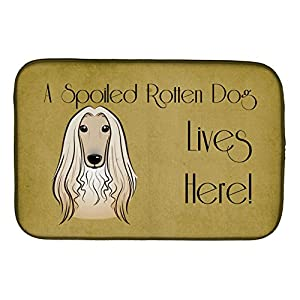 "Caroline's Treasures BB1492DDM Afghan Hound Spoiled Dog Lives Here Dish Drying Mat, 14 x 21"", multicolor 28"