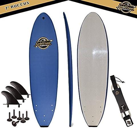 Gold Coast Surfboards - 7' SoftTop Foam Surfboard - The Ruccus - High Performance Foam Surfboard - CrocSkin Foam Deck, Double Concave Bottom Deck, Rubber Logo, 3 Stringers, GoPro Mount, No Wax - Soft Foam Top