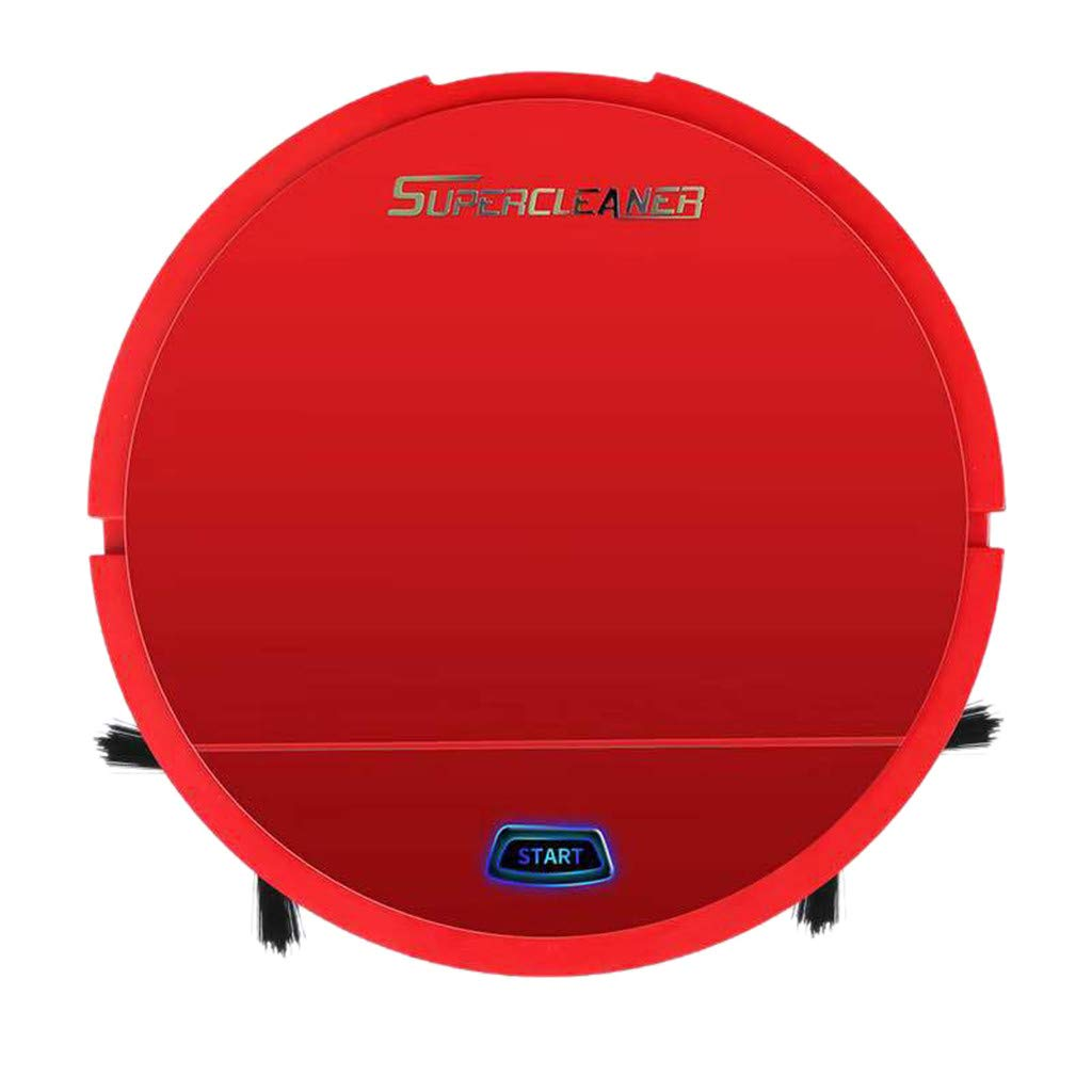 Sonmer Supercleaner Automatic Turn Strong Suction Sweeping Smart Dry Wet Vacuum Cleaner,Battery Powered (Red)