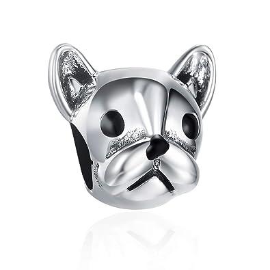 1ca6762b76f SILVERCUTE Animal Bead Charms Fit Pandora Bracelets Antique 925 Sterling  Silver for Dog Lover (Bulldog