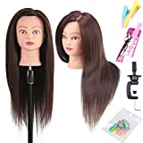 22'-24' inches Mannequin Head with 60% Human Hair Straight Professional Bride Hairdressing Training Head with Stand Cosmetology Doll Head for Styling Braiding Curling Cutting Practice (4#)