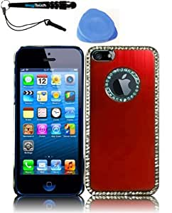 IMAGITOUCH(TM) 3-Item Combo Apple Iphone 5 Executive Metal Diamond Cover - Red (Stylus pen, Pry Tool, Phone Cover)