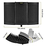 TONOR Microphone Isolation Shield, Studio Mic Sound Absorbing Foam Reflector for Any Condenser Microphone Recording Equipment Studio, Black
