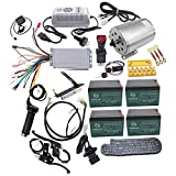 WPHMOTO Full Set of 48V 1800W Brushless Electric Motor Controller Throttle Grip Pedal Wiring Harness Ignition Key 4 x12V Battery and Charger for Go Kart Scooter E Bike Motorized Bicycle ATV Moped Mini