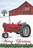 Magnolia Garden Merry Christmas Wintry Vintage Tractor 30 x 44 Rectangular Large House Flag Review