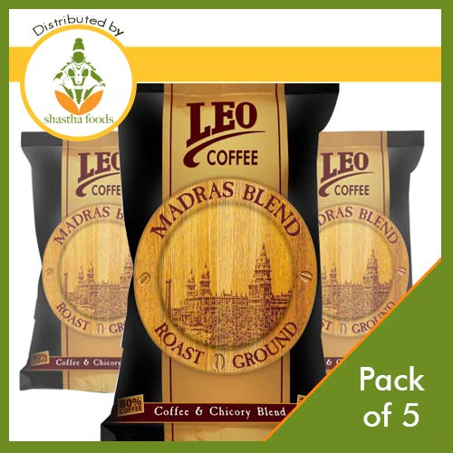 Leo Madras Blend South Indian Filter Coffee (Pack of 5) Each 500 Gms (T-M)