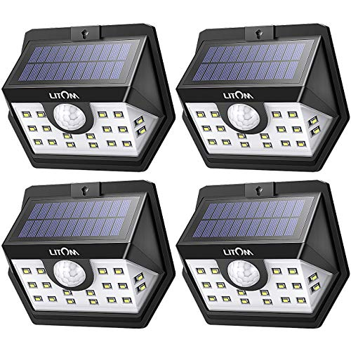 LITOM Classic Solar Lights Outdoor, 20 LED Wireless Motion Sensor Lights(White Light), 270