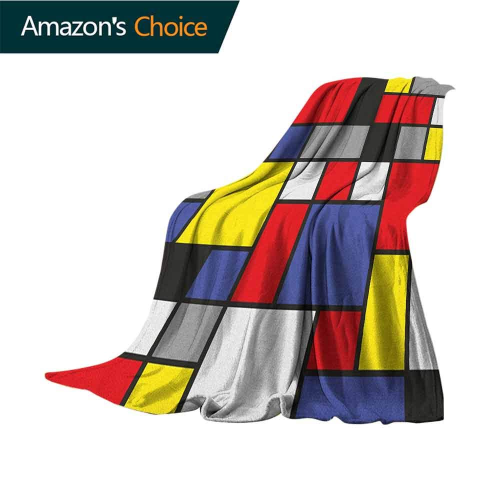 Art Winter Warm Blanket,Mondrianesque Pop Design with Colorful Squares Lively Colors Geometric Shapes Print 300GSM,Super Soft and Warm,Durable Blanket,50'' Wx60 L Multicolor