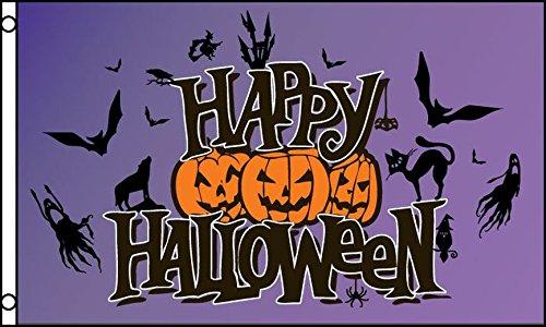AZ FLAG Happy Halloween Purple Flag 3' x 5' - Halloween Party Flags 90 x 150 cm - Banner 3x5 -
