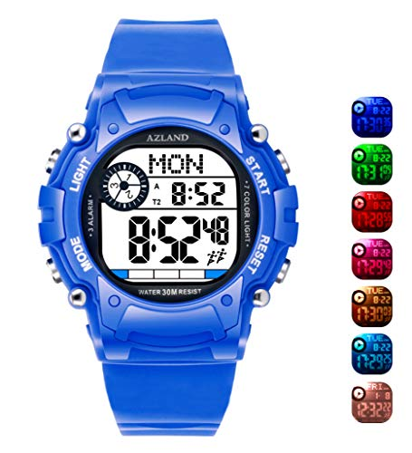 AZLAND 7 Colors Flashing, 3 Multiple Alarms Reminder Sports Kids Wristwatch Waterproof Boys Girls Digital Watches (Blue)