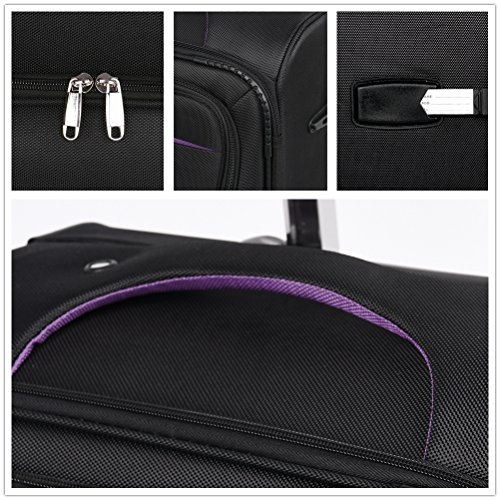 Luggage Set Suitcase Set 3 Piece Luggage Lightweight Soft Shell with 4 Rolling Spinner Wheels Super Durable (20 inch, 24 inch, 28 inch) (Black & purple) by LEMOONE (Image #4)
