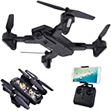ALLCACA Foldable Remote Control Quadcopter 2.4Ghz 4CH RC Drone with 2MP 720P HD WIFI Camera Live Video Feed,One Key Return and Altitude Hold
