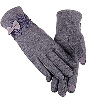 JOKHOO Women's Autumn Winter Screen Touch Gloves Warm Gloves