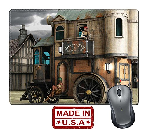 "Price comparison product image Liili Natural Rubber Mouse Pad/Mat with Stitched Edges 9.8"" x 7.9"" Fantasy two story steampunk mobile home with scantily clad women on step and balcony IMAGE ID 30827085"