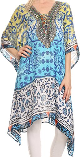 Sakkas KF2020965AT - ShortCaftan Liv Ligthweight Summer Printed Short Caftan Dress / Cover Up - Multi - OS