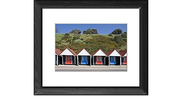 Con marco de diseño de casetas de playa, Bournemouth Promenade, Dorset, Inglaterra, Reino Unido, Europe: Amazon.es: Hogar