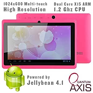 """Axis 7"""" Dual Core, Dual Camera, 1024*600 Capacitive Screen Android 4.1 Tablet PC With HDMI (Pink)"""