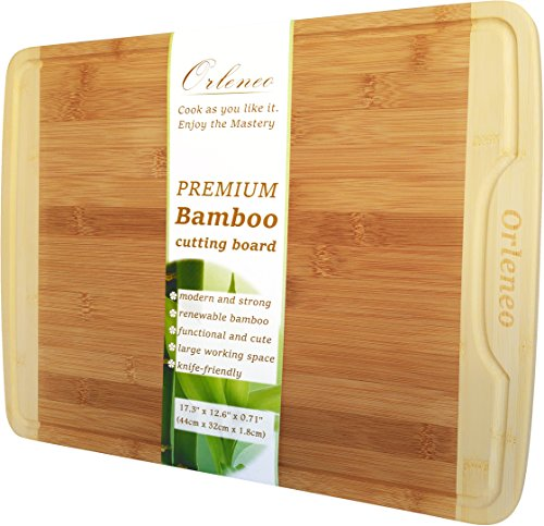 Orleneo Organic Bamboo Cutting Board Extra Large - Hygienic Wide & Thick Chopping Board with Juice Groove - New Warp-Prevention Design Wooden Cutting Boards - Cheese Board (Extra Large Cutting Wooden Boards)