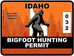Bigfoot Hunting Permit - IDAHO (Bumper Sticker)
