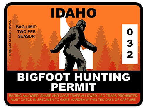 Bigfoot Hunting Permit - IDAHO (Bumper Sticker)