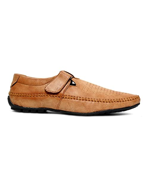1305c69eedda2 Peponi Men s Camel Faux Leather Casual Sandal P-07  Buy Online at Low  Prices in India - Amazon.in