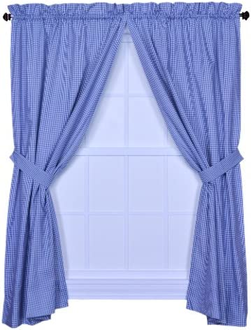 Ellis Curtain Logan Gingham Check Print 68-Inch by 63-Inch Tailored Panel Pair with Tiebacks, Blue
