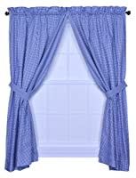 Logan Gingham Check Print 68-Inch by 63-Inch Tailored Panel Pair with Tiebacks, Blue