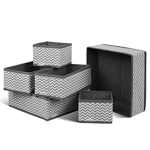 HOMFA Closet Drawer Organizer Foldable Fabric Cloth Storage Cubes Basket for Underwear, Bras, Socks, 6 Pack Stripe(3 Size)