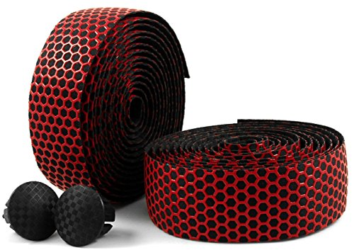 MARQUE Hex Grip Bar Tape - Road Bike Handlebar Tape 2PCS per Set (Red)