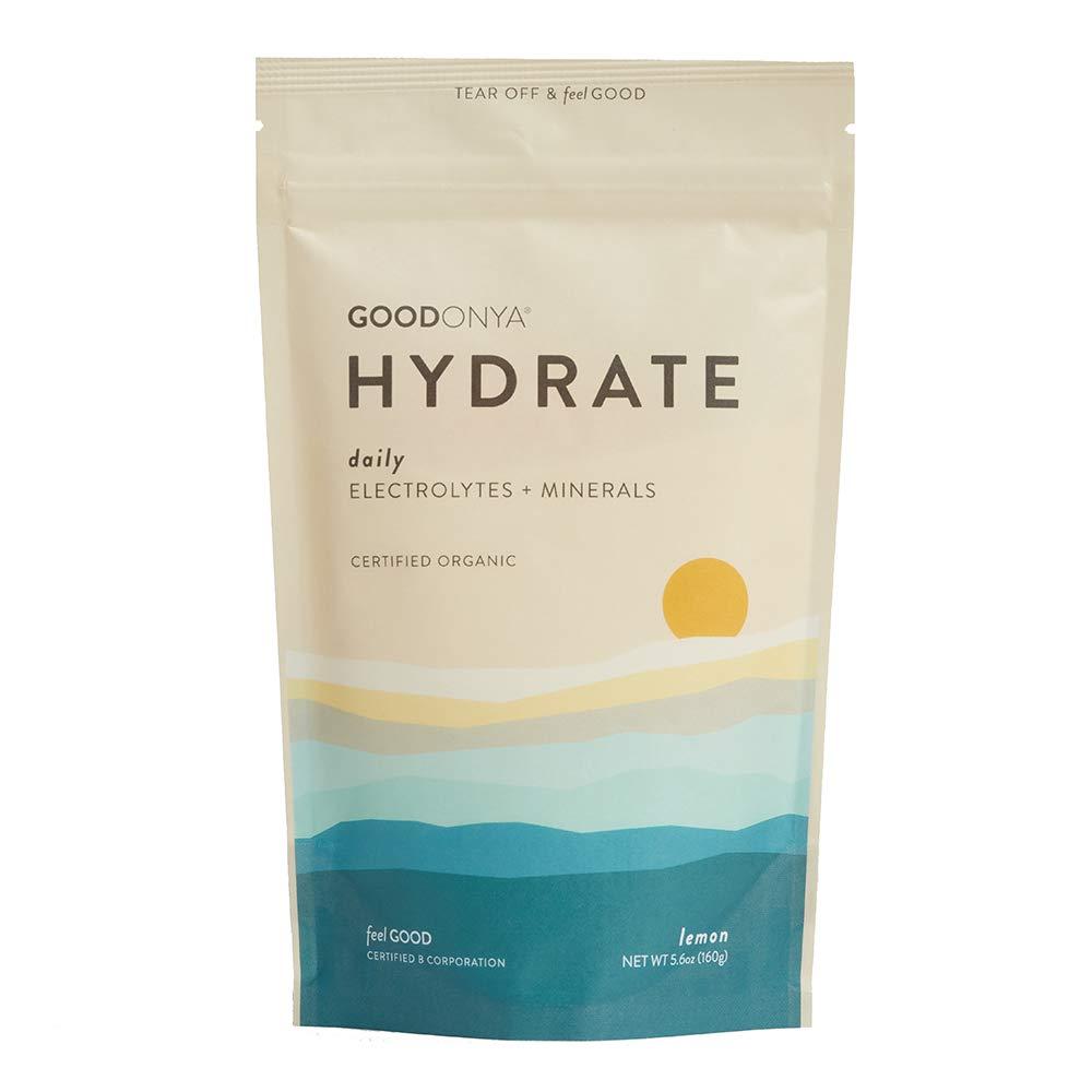 Hydrate Electrolyte + Mineral Powder I Organic | Zero Sugar Added | Keto & Paleo I Real Lemon I Non GMO IPlantBasedIMakes Ultimate Clean Liquid Drink I Replenishmentby GOODONYA5.6oz [20+ serv.] by GOODONYA