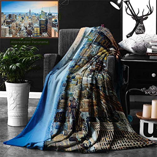 Ralahome Unique Custom Double Sides Print Flannel Blankets American New York City Aerial Skyscrapers Manhattan Urban Architecture Panora Super Soft Blanketry Bed Couch, Throw Blanket 60 x 40 -