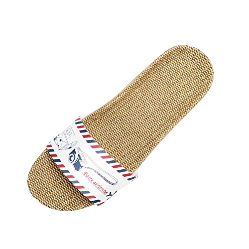 s Beach Silent Cozy Shoes Slippers D Unisex PURETINN Lightweight Indoor Sandals Home Linen Breathable Men Women Slipper aTwxP0U