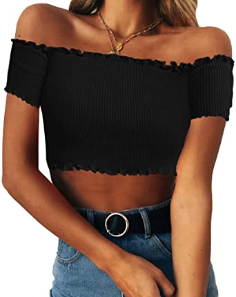 406fe1301fcfa9 Floral Find Women's Sexy Off Shoulder Crop Tops Strapless Ruffle Casual  Slim Tees (Small,