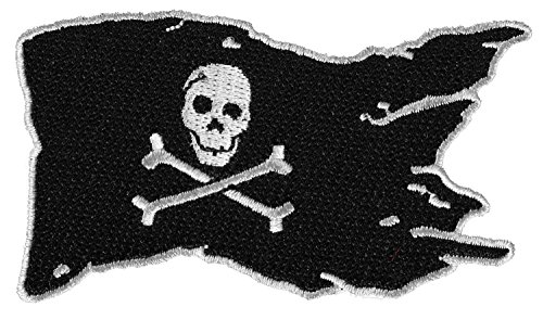 (PIRATE FLAG JOLLY ROGER PATCH - Color - Veteran Owned Business.)
