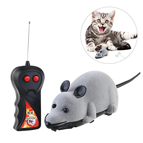 Electronic Remote Control Mini Mouse Cat Toy Simulaton Plush Mouse Chase Toy by ROSENICE (Grey)