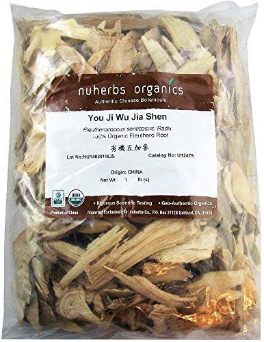 Nuherbs Eleuthero Root, Cut Sliced, Organic You Ji Ci Wu Jia Shen 1lb Bulk Herb