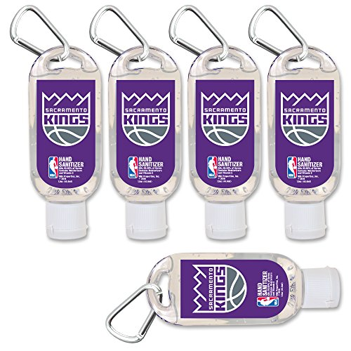 NBA Sacramento Kings Hand Sanitizer with Clip, 5-Pack. Moisturizers Aloe Vera and Vitamin E. (1.5 oz Containers) NBA Gifts for Men and Women, Christmas Stocking Stuffers