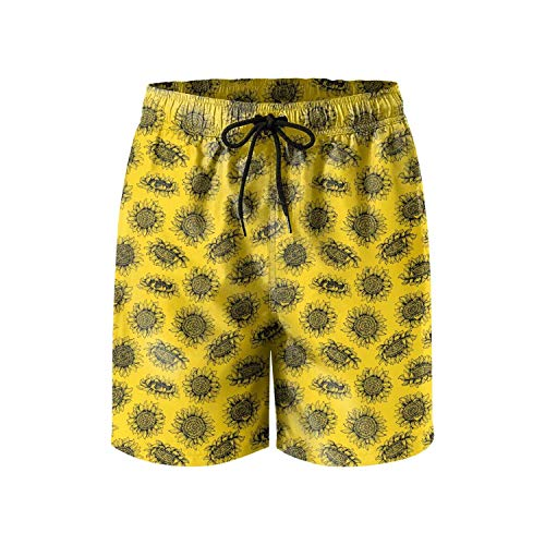ERTUPBNXD Black Sunflower Golden Man's Summer Sports Shorts Personalized Quick Dry Swim Trunks