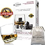 Best Whiskey Stones Gift Set For Reusable Iceless Chill For A Drink without Diluting or Watering Down - 9 Scotch Chilling Rocks - 100% Pure Soapstone Whisky & Bourbon Sipping Cubes