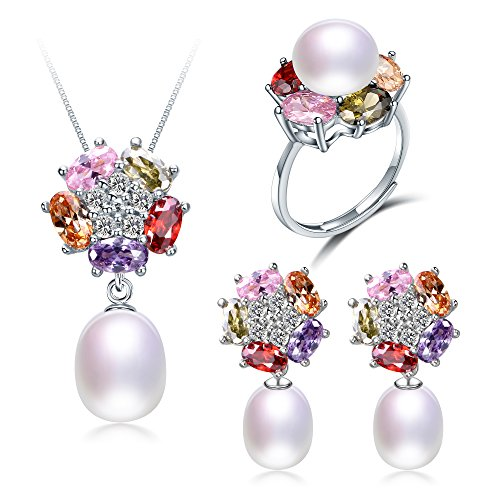 Deluxe Jewelry Set For Women By Diamovi - 100% Natural Freshwater Pearl Necklace, Earrings & Ring - 925 Sterling Silver W/Multi-Colored Flower Design W/8-9 MM Pearl - Available In (White)