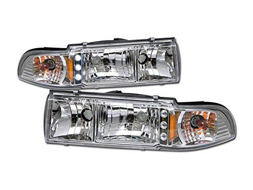 VXMOTOR - Chrome Clear Led Head Lights Signal Corner Lamps Amber 91-96 Chevy Caprice/Impala