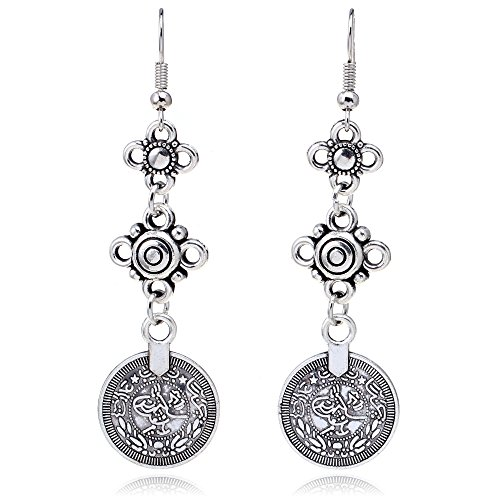 ISHOW Bohemian Style Vintage Coin Drop Dangle Earrings Model Number: HYEX1375#A from ISHOW